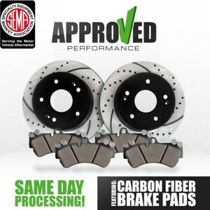 rear Kit Performance Drilled And Slotted Disc Brake Rotors With Ceramic Pads