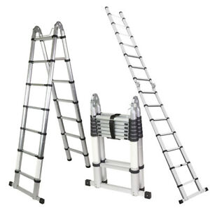 A frame 14 44 Ft Aluminum Ladder Telescopic Extension Tall Multi Purpose En131
