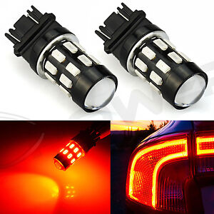 2x Pure Red Car 3157 24 Smd Brake Tail Stop Light Led Bulbs 3528 3457 3156 3057