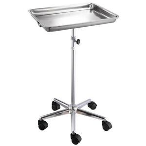Mobile Rolling Mayo Stand Trolley Medical Instrument W Removable Tray