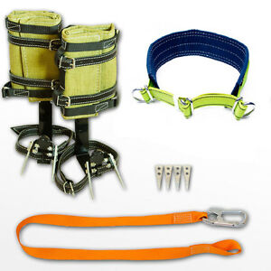 Tree Climbing Spike Set Spurs Gaffs Safety Belt With Reflector Lanyard