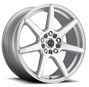 17x7 5 Raceline 131s Evo 5x108 5x114 3 Et20 Silver Machined Wheels Set Of 4