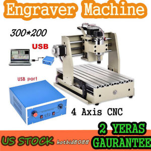 Usb 4 Axis Cnc Mill Router Kit Desktop Wood Engraver Pcb Milling Machine 300w Us