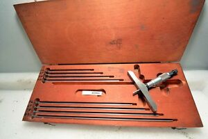 Starrett Depth Micrometer Set 0 9 Inches No 445 inv 33499