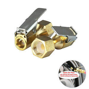 2pcs Open Flow Straight Lock On Air Chuck Clip For Tire Inflator High Quality