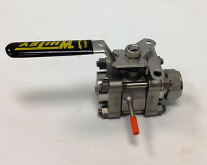 Ball Valve Stainless Steel 3 piece 1 X 3 4 Size 1000 Psi Vented Lockable