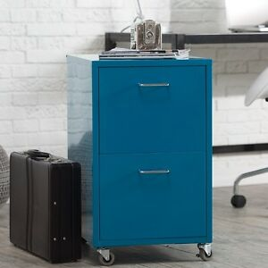 File Cabinet 2 Drawer Teal Metal Rolling Vertical Portable Office Furniture New