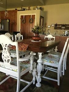 Vintage Dining Set Recently Refinished With Chalk Paint And Lightly Distressed