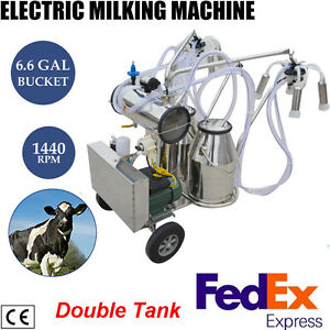 Cow Milker Electric Vacuum Pump Milking Machine For Cows Farm Double Bucket