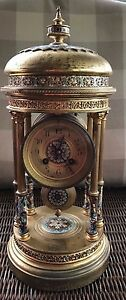 Antique Japy Freres Cloisonne Mantel Clock Cira 1890s Rare Stamped