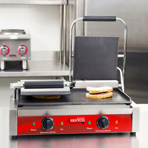 New Avantco P85s Double 8 X 8 Smooth Commercial Panini Press Sandwich Grill