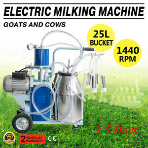 25l Electric Milking Machine For Goats Cows W bucket Us Plug 12cows hour Milker