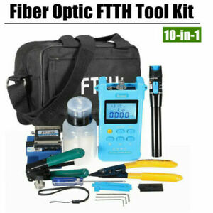 10 in 1 Fiber Optic Ftth Tool Kit Set Power Meter Fc 6s Optical Cleaver Finder