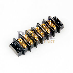 6 Position Hd 20a Wire Connecor Screw Barrier Gold Terminal Strip Blocks