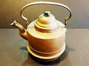 Vintage Swedish Copper Tea Kettle 9 Tall With Handle X 8 1 2 Widest