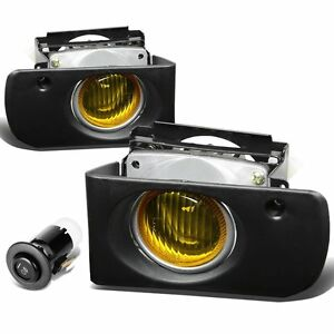 1994 1997 Acura Integra Yellow Bumper Fog Lights Driving Lamps Replacement Set