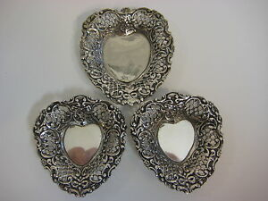 Set Of 3 Vintage 800 Silver Heart Pin Ring Tray 190 Gram Weight 3 Tray