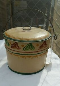 Vintage Tin Bucket With Handle And Lid Primitive Metal Painted