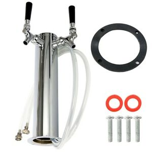 Double 2 Tap Stainless Draft Beer Tower Kegerator Dual Chrome Faucet Homebrew