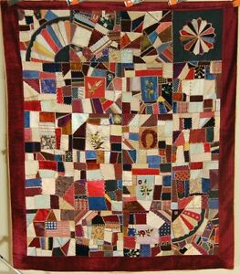 Outstanding Vintage Victorian Silk Crazy Antique Quilt Dated 1885 American Flag
