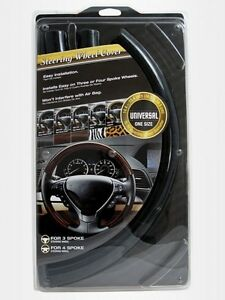 Steering Wheel Cover Black Wood Grain Universal Snap on Designed