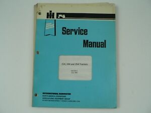 International Farmall Service Manual Ih 234 244 254 Tractors Harvester Vintage