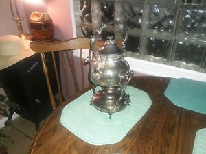 Goldfer Silver Company English Tilting Coffee Pot With Stand And Warmer