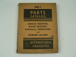 Parts Catalog International Harvester Mb 1 Middle Busters Farmall Furrower 1946