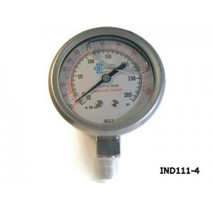 4 Liquid Filled Stainless Ammonia Gauge 30 To 300