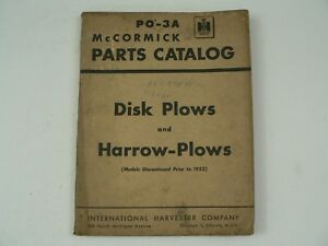 Mccormick Parts Catalog International Harvester Po 3a Disk Harrow Plows 1951 Vtg