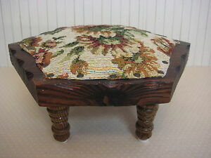 Vintage Hexagon Wooden Foot Stool With Floral Cover Brass Nail 4 Legs 5 1 3