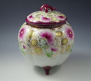 Antique Nippon Footed Biscuit Or Cracker Jar Flowers Gold Moriage Gorgeous
