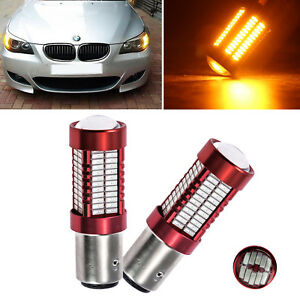 2x Amber Projector Lens 1156 7506 P21w Led Bulbs For Euro Backup Reverse Lights