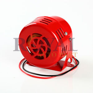 Red 12v Electric Car Truck Motorcycle Driven Air Raid Siren Horn Alarm Loud 50s