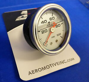 Aeromotive 15633 Fuel Pressure Gauge 0 100 Psi Liquid Filled Chrome Bezel 1 8npt