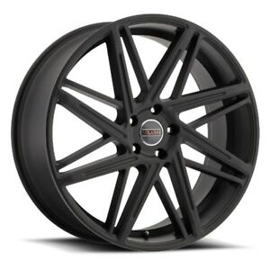 22x9 Milanni 9062 Blitz 5x120 Et15 Satin Black Wheels Set Of 4
