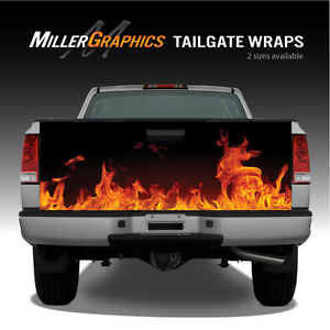 Fire Flames Orange Truck Tailgate Vinyl Graphic Decal Wraps
