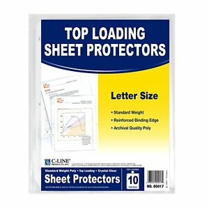 C line Top Loading Standard Weight Poly Sheet Protectors Clear 8 5 X 11 10 Per