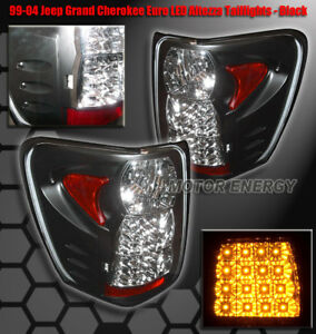 For 99 04 Jeep Grand Cherokee Rear Led Tail Lights Light Black 2002 2003