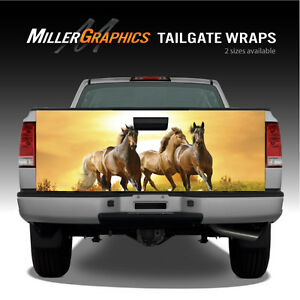 Horses Running At Sunset Truck Tailgate Vinyl Graphic Decal Wraps