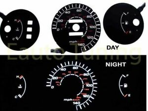 Black Indiglo El Gauges Kit Glow White Reverse For 92 95 Civic Dx Mt Only