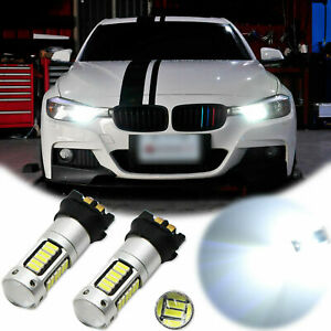 2pcs Error Free White Pw24w 30 Smd Led Drl Light Bulb For Bmw F30 320i 328i 335i
