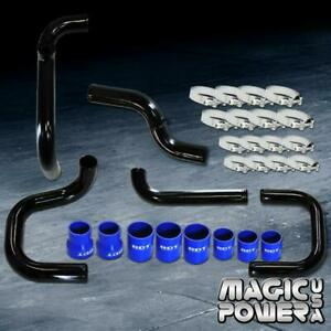 Black Intercooler Piping Blue Couplers Ssqv Bov Flange Kit For 1996 2000 Civic