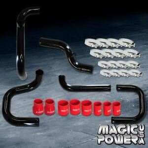Black Intercooler Piping Red Couplers Ssqv Bov Flange Kit For 1996 2000 Civic