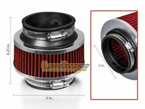 3 Inlet 76mm Cold Air Intake Universal Bypass Valve Filter Red For Mitsubishi