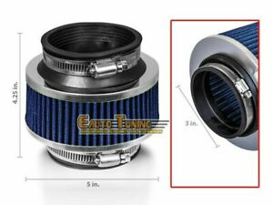 3 Inlet 76mm Cold Air Intake Racing Universal Bypass Valve Filter Blue