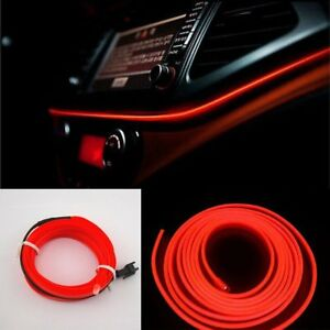 Red 2m 12v Led Car Auto Interior Decorative Atmosphere Wire Strip Light Lamp