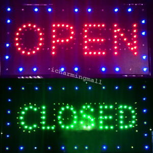 Bright Led 2 In1 Open Closed Store Shop Business Sign 9 8 20 47 Display Neon