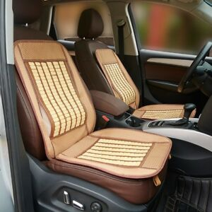 Cool Bamboo Car Seat Cover Cushion Back Support Waist Massage Beige 105 48cm Us