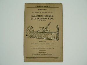 Self Dump Hay Rake Type M Owners Manual Parts List Mccormick Deering 1935